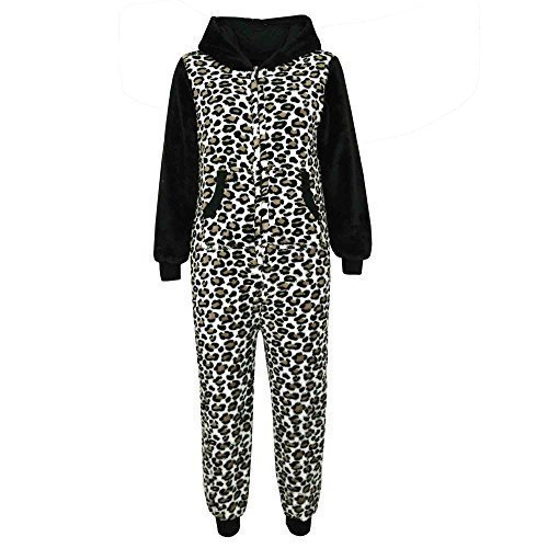 Kinder Weiche Flauschige Tier Strampelanzug - Onesie Brown Leopard 13 (Meine Monster High Kostüme)