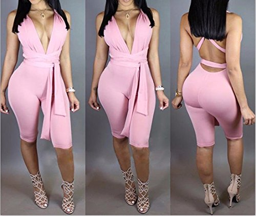 QIYUN.Z Club Fille Sexy V Profond Licol Barboteuses Cou Bandage Femmes Backless Jumpsuit Rose