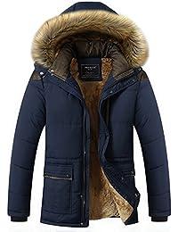 YYZYY Homme Classique Automne Hiver épais Coton Chaud à capuche Manteaux Coupe-Vent Veste Parka Loisirs Blousons Capuchon amovible