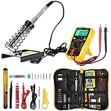 Joyhero Kit de Soldador Eléctrico y Multímetro Numérico, Set de Soldador Electrónica de Estaño Temperatura