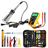 Joyhero Lötkolben Set Elektronik 60W 220V Lötstation Kit DIY Lötset Digital Multimeter, 200 - 450°C verstellbare Temperatur 2pcs Lötspitzen, 2pcs Elektronische Draht Entlötpumpe, Lötkolben Ständer mit Werkzeug Tragetasche