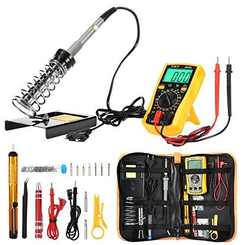 Brandneu Elektronik Joyhero Digital Multimeter 60W 220V Lötstation Kit DIY Lötset , 200 - 450°C verstellbar Temperatur, Lötkolben Ständer mit Werkzeug Tragetasche ()