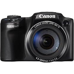 """Canon SX510 HS Appareil Photo Numerique 3"""" (7,5 cm) 12,1 Mpix Zoom Optique 30x USB Noir"""