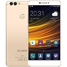 Bluboo DUAL Smartphone 4G LTE 5,5 Pulgadas 2,5D 1920 x 1080 Pixel FHD Android 6.0 Aleación de Aluminio MTK6737T Quad Core 2GB RAM 16GB ROM Cámara 13MP + 5MP, Soporta Tarjeta TF, Oro