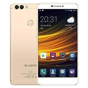 BLUBOO Dual Smartphone 4G LTE Handy 5.5 Zoll FHD Display Android 6.0 13MP Dual Kamera 2GB RAM 16GB ROM MTK6737T Quad Core 3000mAh 8mm dünn Metallgehäuse Fingerabdrucksensor Dual SIM ohne Vertrag, Gold