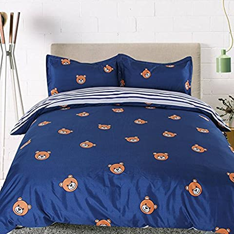 Sookie 3 Piece bedding set - 800 Thread Count Luxurious&Extremely Durable Premium Bedding Collection - Blue and white striped cartoon bear pattern -UK King Size
