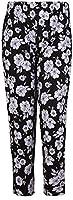 Womens Plus Size Floral Printed Ladies Elasticated Waist Long Pants Trousers Big Flower 26 - 28