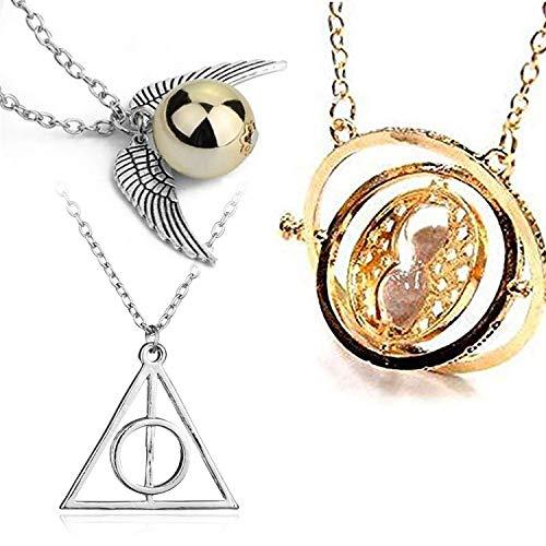 U&X Harry Potter zeitumkehrer Sand Sanduhr Halskette Goldener schnatz Heiligtümer des Todes Kostüm schmuck Kette ,3 Stück (Potter Harry Schmuck)