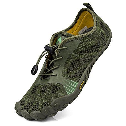 Troadlop Herren Fitnessschuhe Outdoor Zehenschuhe Gym Schuhue Weiche Sohle Athletic Barfußschuhe Grün 44