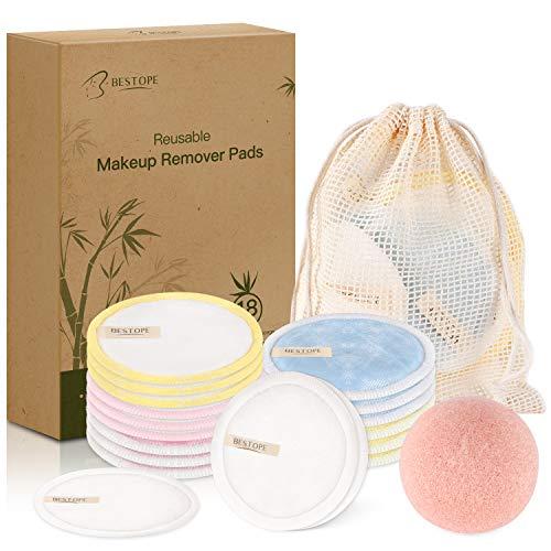BESTOPE Abschminkpads Waschbare Makeup Entferner Pads mit Wäschebeutel und Konjac Schwamm Umweltfreundliche Super Adsorptionskraft Wattepads Für alle Hauttypen 18 Stk