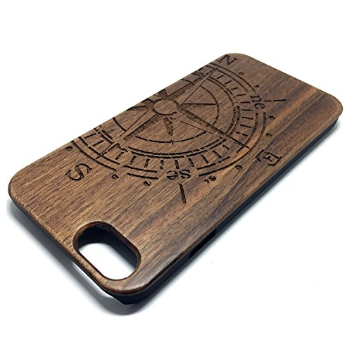 Custodia iPhone 6/6S, Natura Legno Custodia Wood back Cover Hard PC Bumper Protettiva Case Per Apple iPhone 6/6S(4.7 Pollici)Smartphone - Wooden Cover(Middle finger) Walnut compass