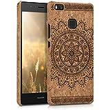 kwmobile Funda de corcho para Huawei P9 Lite - Case trasero Diseño Flor azteca para móvil - Cover protector duro en marrón oscuro marrón claro