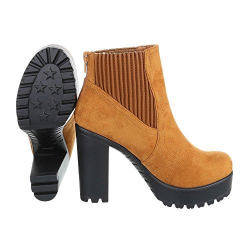 Ital-Design High Heel Stiefeletten Damenschuhe Schlupfstiefel Pump High Heels Reißverschluss Stiefeletten Camel