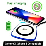 #6: Fast Wireless Charger Qi Certified with Anti-Slip Rubber for iPhone 8,iPhone X,iPhone X / iPhone 8 / iPhone 8 Plus,Samsung Galaxy Note8, Samsung Galaxy S8/S8 Plus,Galaxy S7 Edge/Galaxy S7, Galaxy S6 Edge plus / Galaxy Note 5