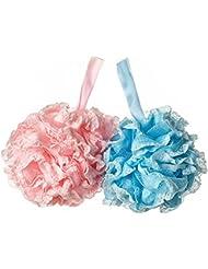 Tenn Well Fleur de Douche, Exfoliant Corps et Très Douce - Paquet Double (Bleu et Rosé)