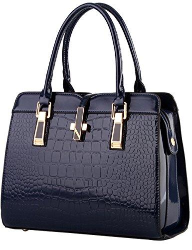 Menschwear Leather Tote Bag lucida PU nuove signore borsa a tracolla Viola Blu