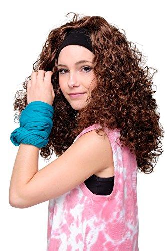 WIG ME UP ® - LM-153-33# LOCKENPRACHT Perücke mit Stirnband BRAUN (Flash Perücke Kostüme)