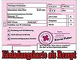 Rezept als Einladungskarten zum Geburtstag Party Feier Kranken-rezept Einladung (20 Stück)