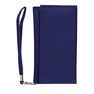 Jo Jo A5 G8 Leather Wallet Universal Pouch Cover Case For Philips V726 Indian Blue