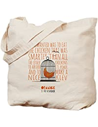 CafePress–naranja es el nuevo negro–jaula gamuza de pollo–lona bolso, bolsa de la compra, lona, caqui, Medium