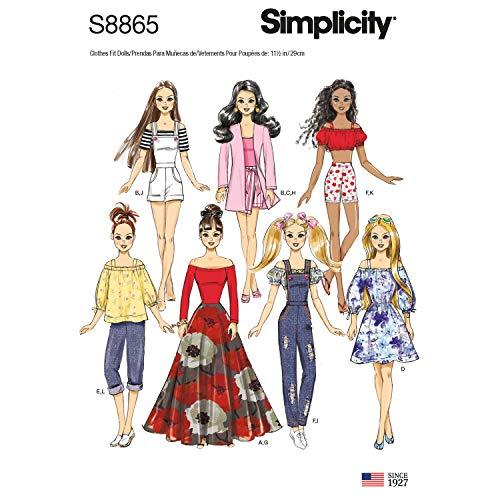 Simplicity US8865OS S8865 - Cartamodello per vestiti da bambola, taglia unica