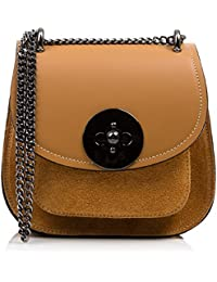 FIRENZE ARTEGIANI.Damenhandtasche aus echtem Leder.Echtes Ruga-Leder und luxuriöse Wildledertasche.Schulterkette .Handtasche.Schultertasche.Made in ITALY.VERA PELLE ITALIANA.23x15x12 cm