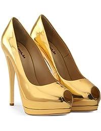 SUN HUIJIE Slingback Pumps Stiletto Tacones Altos para Mujer Sandalias Peep  Toe Vestido de Fiesta ( f0a874c7c328