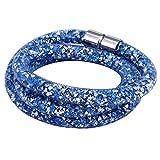 Morella Damen Strass Glitzer Wickelarmband oder Halskette mit Magnetverschluss blau weiß