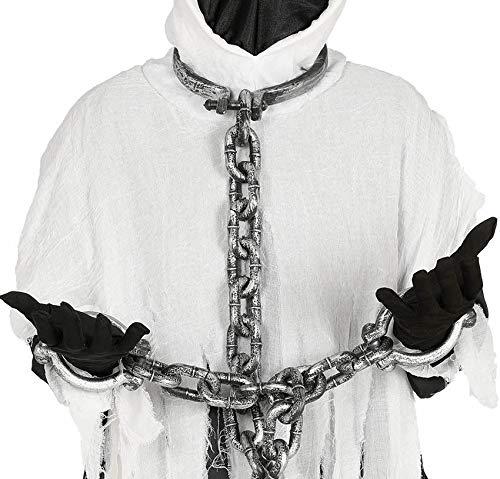 Hals- und Händefesseln Gefangene Ketten Ball & Kette Kostümzubehör (110 cm Hals- und Handgelenkmanschetten und (Gefangener Ball Und Kette Kostüm)
