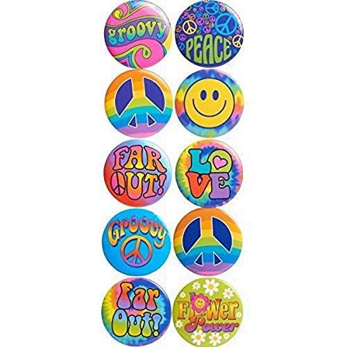 ie Anstecker Buttons Love Peace Blumen Kostüm-Zubehör 60er 70er Jahre ()