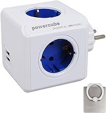 Allocacoc PowerCube 2 USB Port 4 Verteiler Reiseadapter mit Rücksetzbare Sicherung Steckdose 230V Schuko, Cobalt Blau + 360° drehbare Ringhalterung Halterung / Ständer für Handy Das beste Geschenk zum Valentinstag