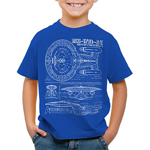 style3 NCC-1701-D Blaupause T-Shirt Kinder trek trekkie star, Farbe:Blau;Größe:164 (Jeans Big Star Premium)