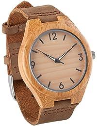 c2ae0408401c Reloj de pulsera de madera con la de los hombres Seraiel correa de cuero  genuino de