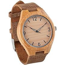 4252367fa63f Reloj de pulsera de madera con la de los hombres Seraiel correa de cuero  genuino de