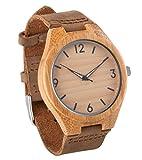 Reloj de pulsera de madera con la de los hombres Seraiel correa de cuero genuino de la calidad Miyota movimiento análogo de cuarzo