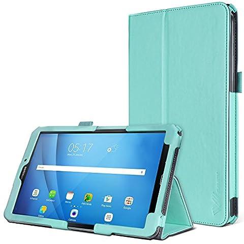 Coque Samsung Galaxy Tab A 7.0 Pouces, SAVFY Étui Housse en Luxe Cuir PU avec Support Pied, Slots de cartes, Portefeuille, Sangle Élastique, porte-Stylet pour Samsung Galaxy Tab A 7.0 2016 (SM-T280 \ SM-T285) (A6), Vert (avec Fonction Veille/Réveil Automatique)