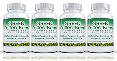Green Coffee Bean Platinum (4 Bottles) - Premium 100% Pure Green Coffee Bean Extract with GCA (50% chlorogenic acid) Professional Strength Weight Loss Supplement. 800mg from Green Coffee Bean All Natural Fat Burner