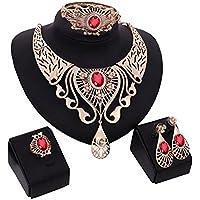 Ciondolo in cristallo di lusso Fascette orecchino bracciale anello Set di gioielli