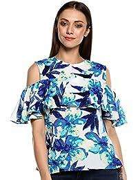 d69d5c28294 indietoga Women White Blue Georgette Floral Print Western wear top (Plus  Size XS to 7XL