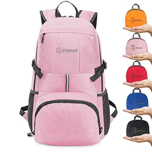 ZOMAKE 35L Ultraleicht Faltbarer Wanderrucksack, Multi-Funktionaler Stopfbarer Wasserdichter Casual Camping Tagesrucksack für Outdoor-Sport Klettern Bergsteiger (Pink)
