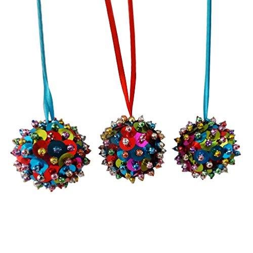 ornamento decorativo appeso set di 3 pezzi fatti a mano perline multicolore paillettes lavorano in materiale plastico appeso voce palla ornamento regalo - Paillettes Palla Ornamento