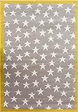 Colorida Alfombra 100 Estrellas para Niños en Gris Ocre Diseñada para áreas de Juegos 120cm x 170cm