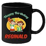 Huppme Happy Birthday Reginald Black Ceramic Mug (350 ml)