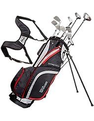 Wilson Anfänger-Komplettsatz, 10 Golfschläger mit Carrybag, Herren, Stretch XL, Schwarz/Grau/Rot