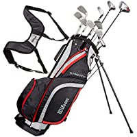 Wilson Set completo para principiantes, 10 palos de golf con bolsa de transporte, Hombre (mano izquierda) Stretch XL, Negro/Gris/Rojo, WGG157550