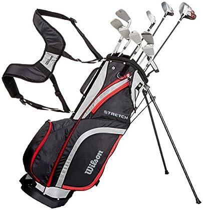 Wilson, Set completo para principiantes, 10 palos de golf con bolsa de transporte, Hombre (mano izquierda) Stretch XL, Negro/Gris/Rojo, WGG157550