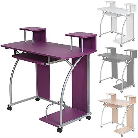 TecTake Mesa de ordenador de escritorio juvenil estudiante PC trabajo muebles - disponible en diferentes colores - (Púrpura | No.
