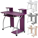 TecTake Computer desk work table youth student office work station furniture - different colours - (Purple)