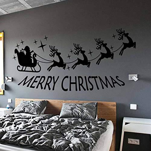 Dalxsh Weihnachtsmann Und Elch Frohe Weihnachten Abnehmbare Wandaufkleber Für Wohnzimmer Urlaub Kunst Dekoration Vinyl Aufkleber 80X42 Cm
