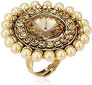 Zaveri Pearls Ring for Women (Golden)(ZPFK7144)